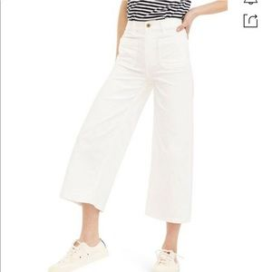 J.CREW Cropped High-rise Wide-leg Jeans In White